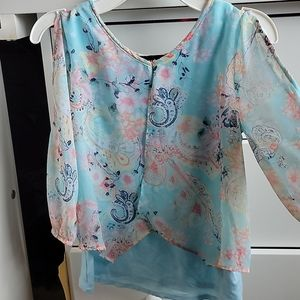 Girl's S 7/8 Tank w/attached 3/4 sleeve blouse